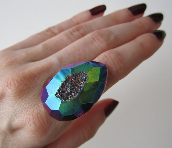 BLACK FRIDAY. Druzy Ring. Agate Ring. Titanium Druzy Ring. Drusy Ring. Rainbow Ring.