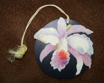 Orchid Die Cut Tally Card, 1930s, Chas. Clarke, Bavaria