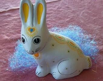 White Rabbit, Indonesian Papier Mache, Vintage Hand Painted