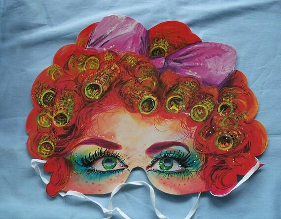 Red Head Mask, Vintage Paper Mask, Die Cut Paper