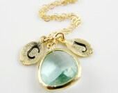 Leaf Initial Necklace, Light Green Prasiolite Glass Pendant, Handstamped Monogram Necklace, Mother Daughter Son Necklace, Couple Necklace