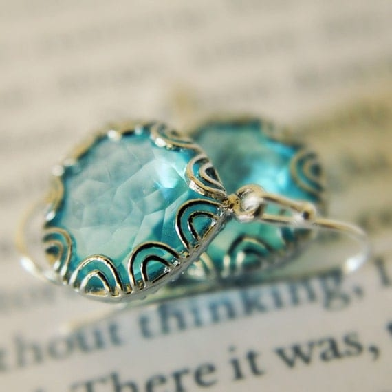 Aquamarine Earrings, Fancy Glass Briolettes, Bezel Earrings, Wedding Jewelry, Mothers Jewelry, Bridesmaids Gift, Silver, Under 25 Unique