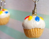 Wedding SALE - French Vanilla Bean Frosted Cupcake Earrings with Sprinkles