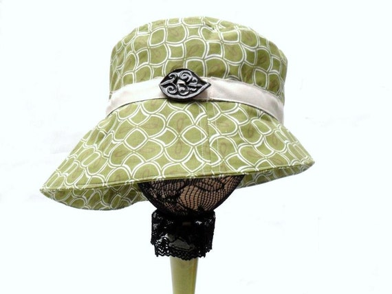 Olive Green - Asymmetrical Sun Hat - Organic Cotton