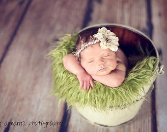 SALE - Olive Faux Fur Photography Prop - Soft, Cozy, Cuddly Faux Fur Nest - Perfect Newborn Photography Prop, Stuffer, Filler, Layering