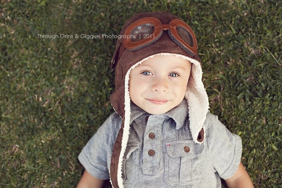 AVIATOR Pilot Hat w/ Faux Goggles Toddler Childrens Photography Prop Movie UP Steampunk Styled Cap Perfect Accessory to Your Prop OBSESSION