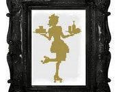 50s Waitress on rollerskates car hop cross stitch pattern pdf