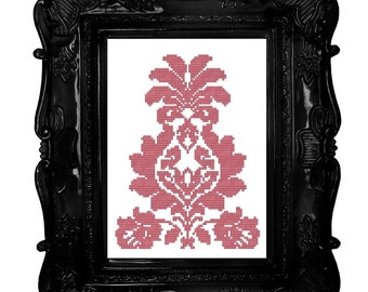Damask pink cross stitch pattern
