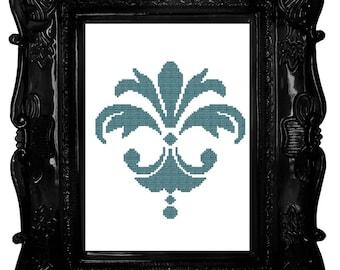 damask ocean blue cross stitch pattern pdf