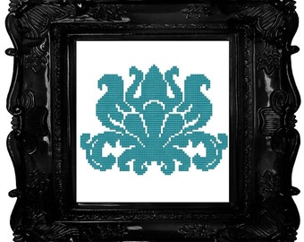 Damask electric blue cross stitch pattern