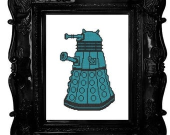 Dalek (left) cross stitch pattern pdf dr who