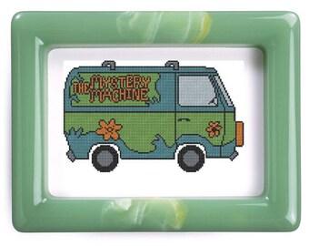 The Mystery Machine van Scooby Doo inspired cross stitch pattern .pdf