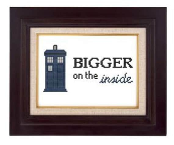 Police Box Bigger Inside cross stitch pdf pattern