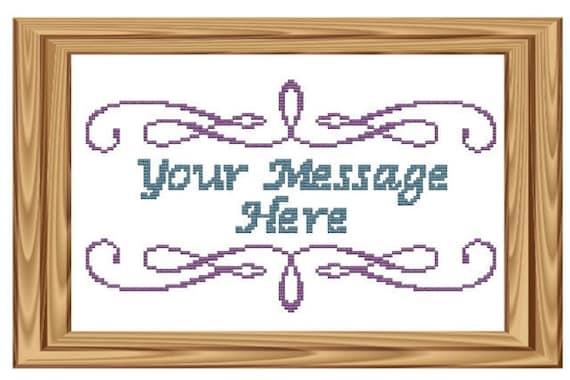 cross stitch pattern Purple Swirl Your Message Here Custom pdf