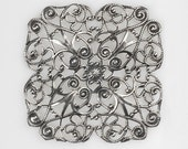 Large Antiqued Silver Plated Ornate Square Filigree  S-W01