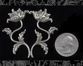 Silver Plated Mirror Image Flower Art Deco Floral Wrap  S-W07