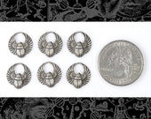 Silver Plated Mini Scarab Charms Set of Six S-C32