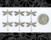 Silver Medium Ornate Dragonfly Two Ring Connectors Set of Six  S-2C13