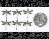 Silver Smaller Ornate Dragonfly Two Ring Connectors Set of Six S-2C12