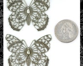 Two Silver Filigree Butterfly Pendants *S-P14
