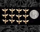 Tiny Raw Brass  Bee or Fly Charms Set of Twelve B:C41