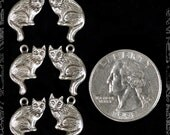 Silver Plated Brass Sitting Cat Charms Set of Six  Three Sets of Two Facing Each Other  S-C60