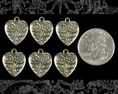 Silver Plated Brass Floral Heart Charms Set of Six S-C61