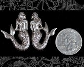 Silver Plated Brass Shy Mermaid Pair S-P42