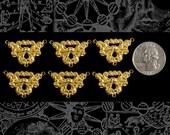 Six Raw Brass Vintage Filigree Three Way Connectors  B-3C17