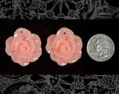 Pink Rose Cameo Cabochons 29mm with holes - Set of Two   Flwr63