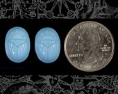 Vintage Sky Blue Glass Scarabs 18x13mm Glass Cameos, Set of 2   CAM75