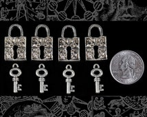 Silver Zic Oxide Pendant Chams Locks and Keys Set of Four   ZS:P04Set