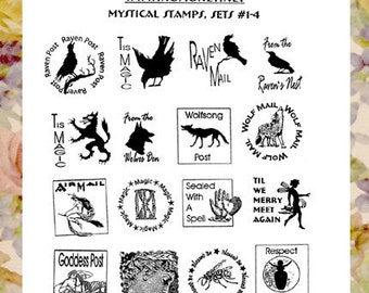 Goddess Witch Wolf Raven Stamp Set with Twelve 1 inch Designs  * RS-MSS-Umtd