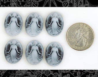 Black and White Angel Cameos 16mm x 21mm - Set of Six   CAM1