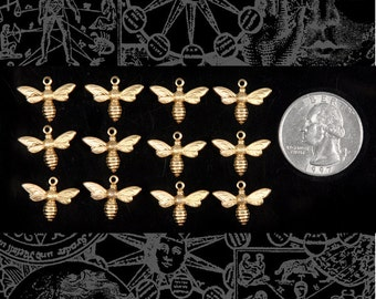 Tiny Raw Brass  Bee or Fly Charms Set of Twelve * B-C41