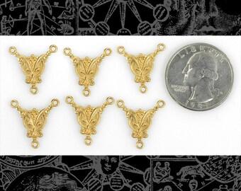 Six Raw Brass Art Deco Butterfly Three Way Connectors   *B-3C09
