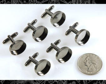 Six Gunmetal Cuff Link Blanks with Round 16mm Settings, 3 Pairs  Cuff2