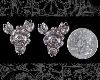 Silver Plated Brass Full Flowering Rose Three Ring Connectors  Set of Two * S-3C03