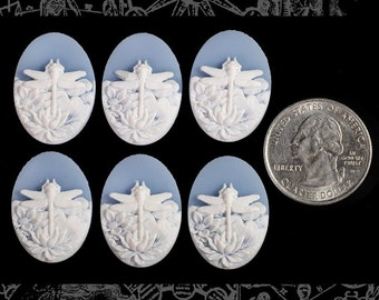 Six Wedgwood Blue and White Dragonfly Cameos 24x18mm Cameos CAM85
