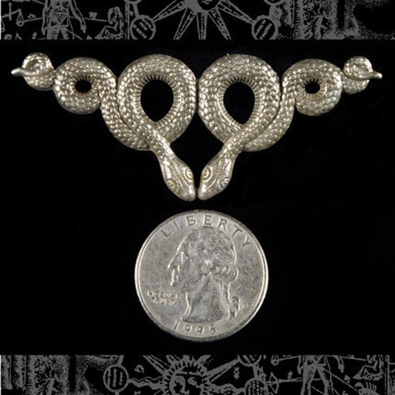 Silver Double Snake Centerpiece Pendant Stamping S-P24