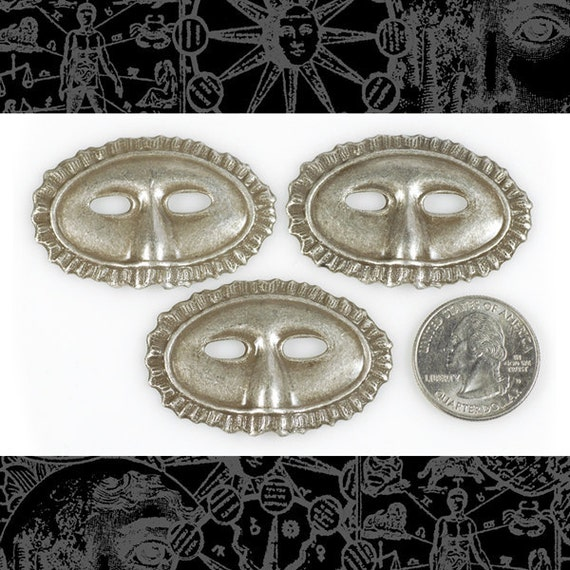 Silver Plated Brass Mardi Gras Mask - Set of Two S-P32