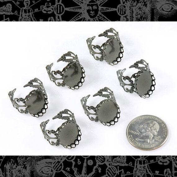 Six Gunmetal Filigree Ring Blanks with 18x13mm Settings     RING8