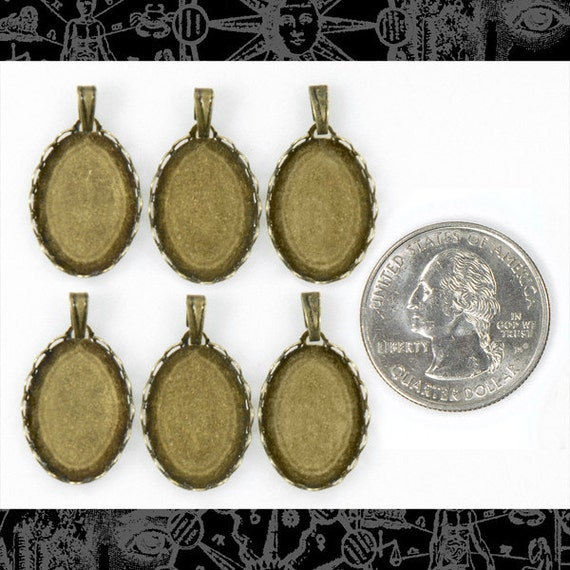 12 Vintage Basket Antique Brass Cameo Frames for 13x18mm with Hanging Loops  - Set of 12   AB-F13