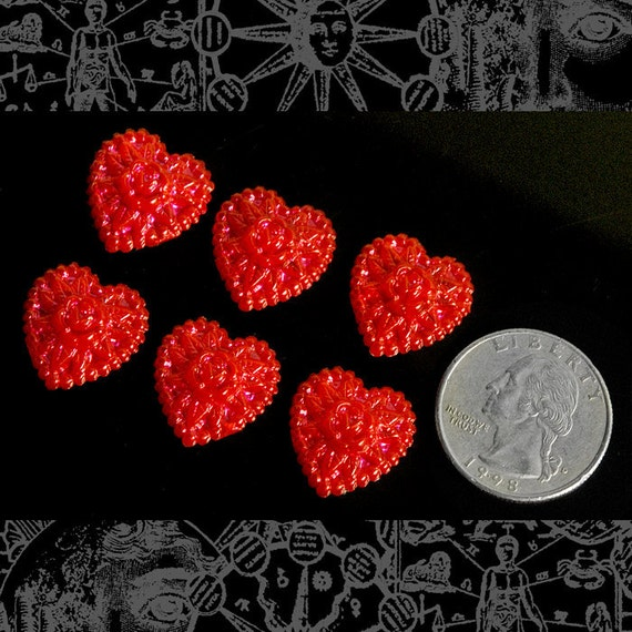 Six Sparkly Red Heart Cabochons Cab26