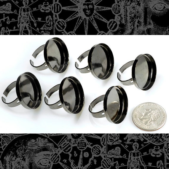 Six Gunmetal Ring Blanks with Deep Round Settings for 25mm / 1 inch     RING13