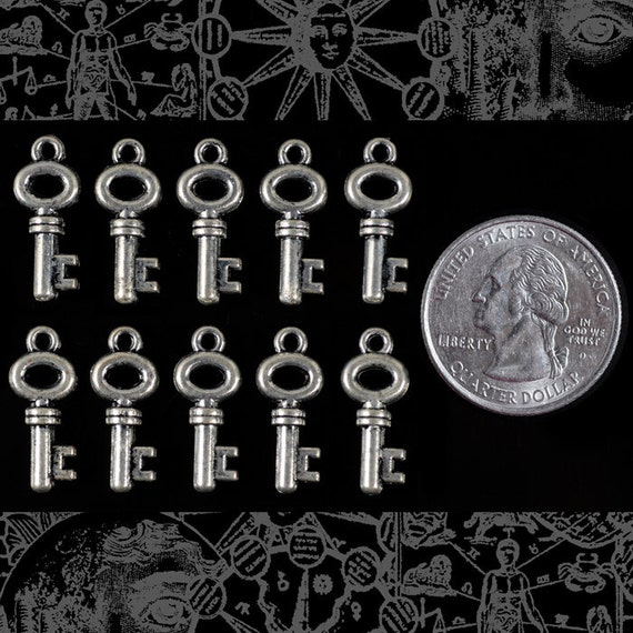 Set of Twelve Small Antique Style Silver Key Charms  * ZS-C13