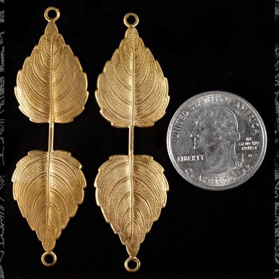 Raw Brass Large Leaf Pinch Connector Set of 2  B:W19