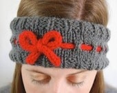 Knit Headband - Dark Grey with Red Bow
