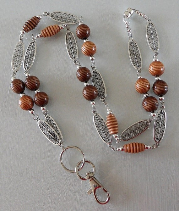 Spiral Wood and Silver Paddled Beaded ID Lanyard