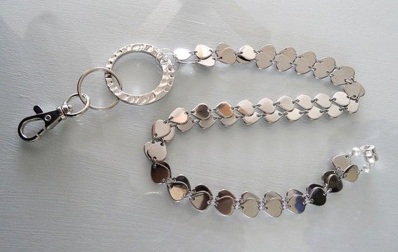Silver Toned Heart Shaped Chain Lanyard